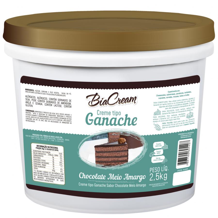 Creme tipo Ganache Sabor Chocolate Meio Amargo 2,5kg